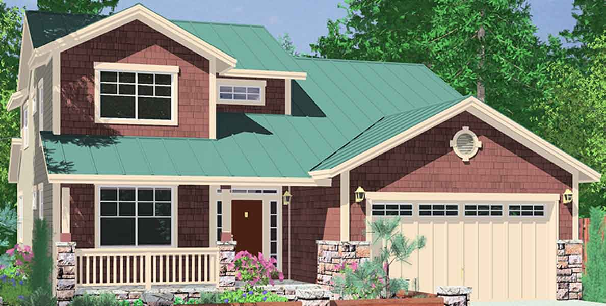 Narrow lot house plans building small houses for small lots for House plans master on main