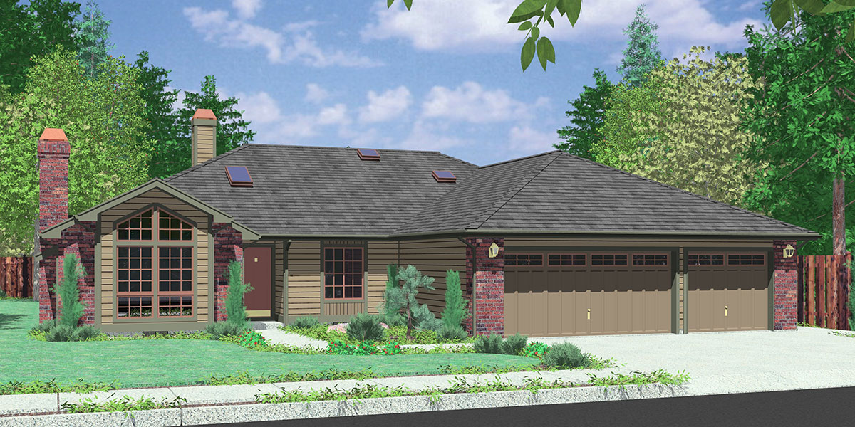 Ranch house plans american house design ranch style home for House plans 3 car garage narrow lot
