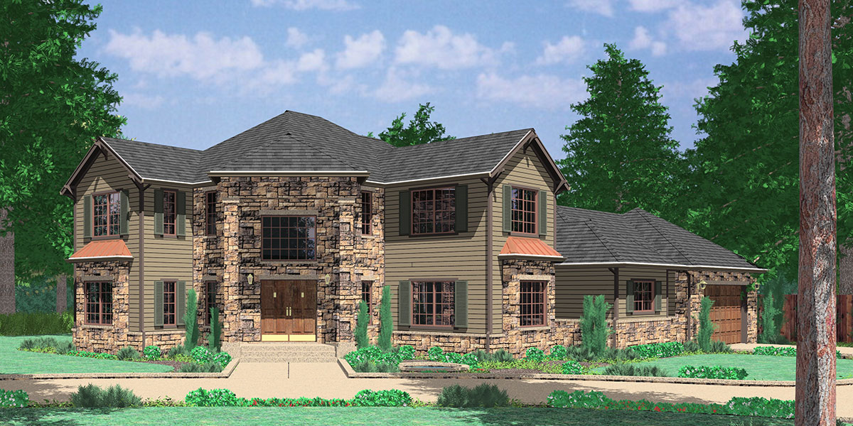 corner lot house plan render 10029