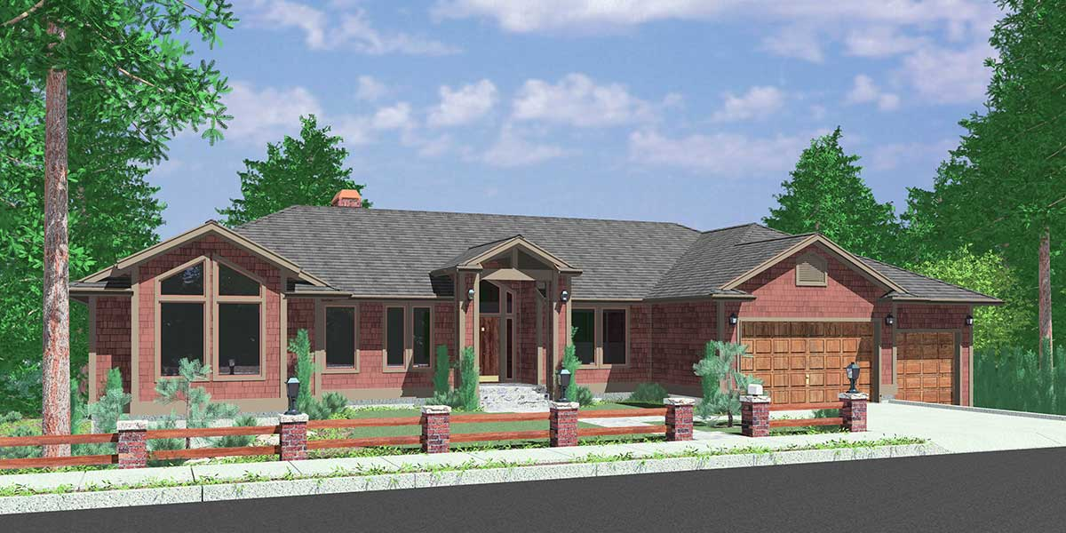Custom ranch house plan w daylight basement and rv garage for Ranch house with garage