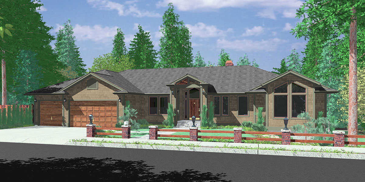 Ranch house plans main floor master house plans 9996 for 3 car garage ranch home plans