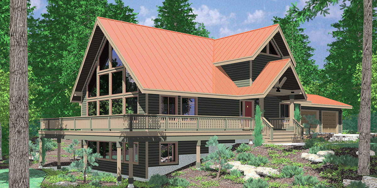 A frame house plans with steep rooflines for A frame home designs
