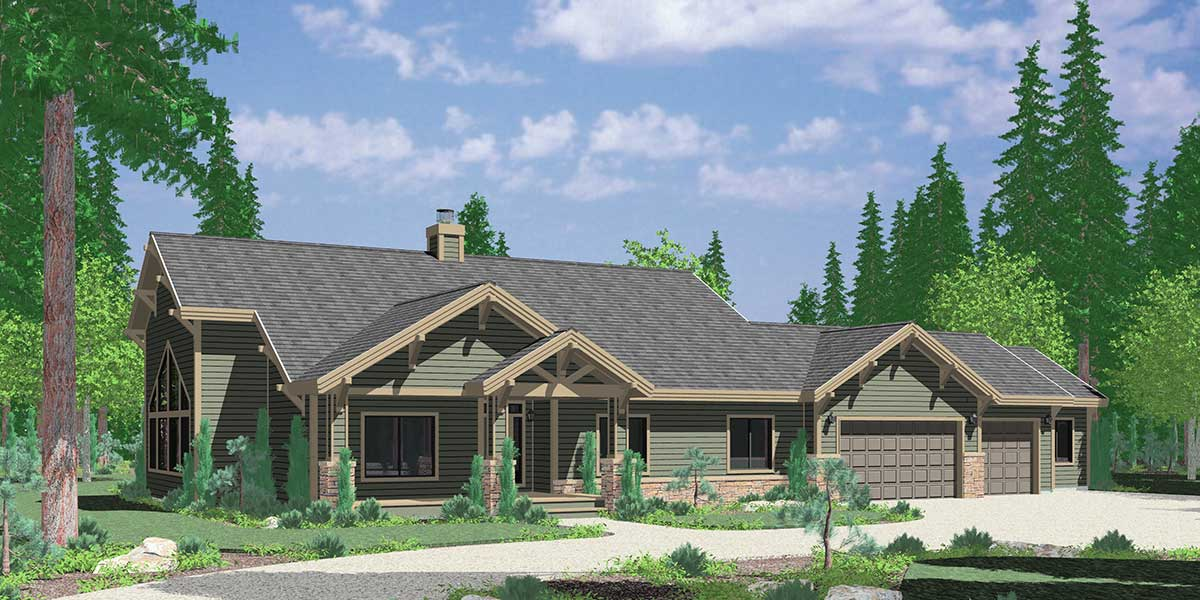 Ranch house plan featuring gable roofs for Roof designs for ranch homes