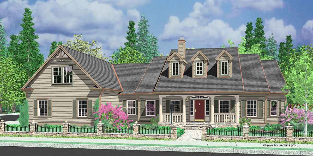 Colonial house plans dormers bonus room over garage single for Side load garage house plans