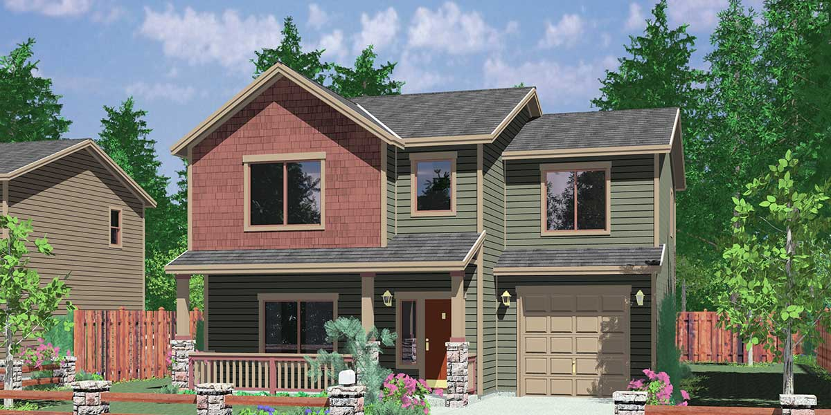 house front color elevation view for 10094 narrow lot house plans small lot house plans