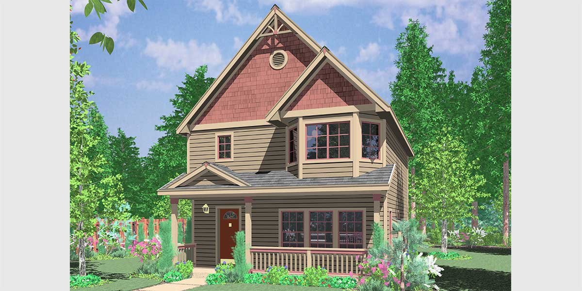 10101 Victorian Narrow Lot House Plan features front Bay Window