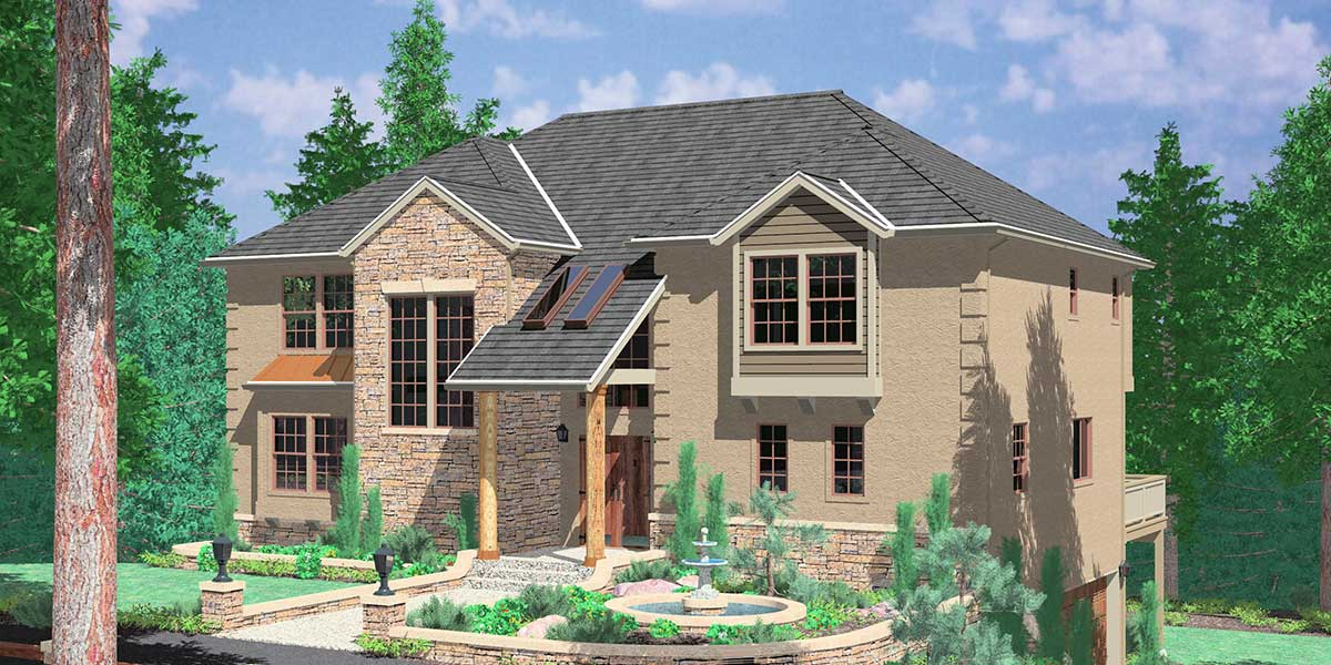 Hillside home plans with basement sloping lot house plans Hillside garage plans