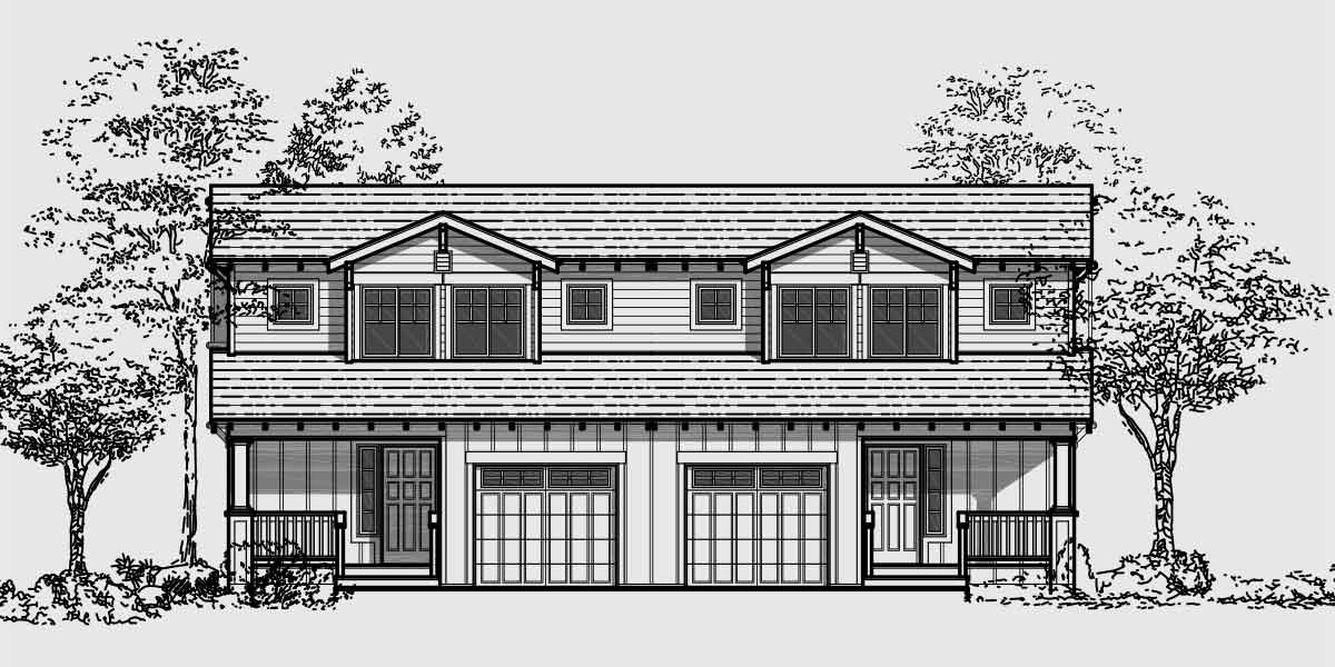 Craftsman duplex house plans bungalow duplex house plans for Front elevations of duplex houses