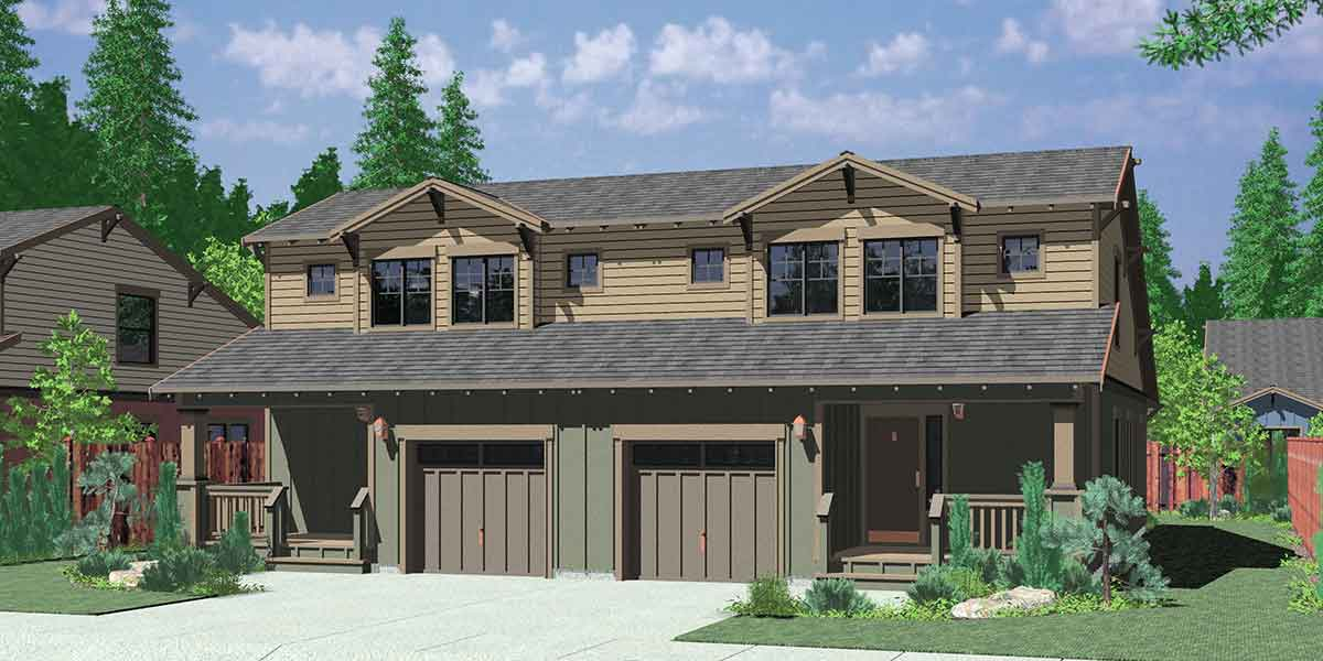 D-447 Craftsman duplex house plans, bungalow duplex house plans, master on the main floor plans, D-447