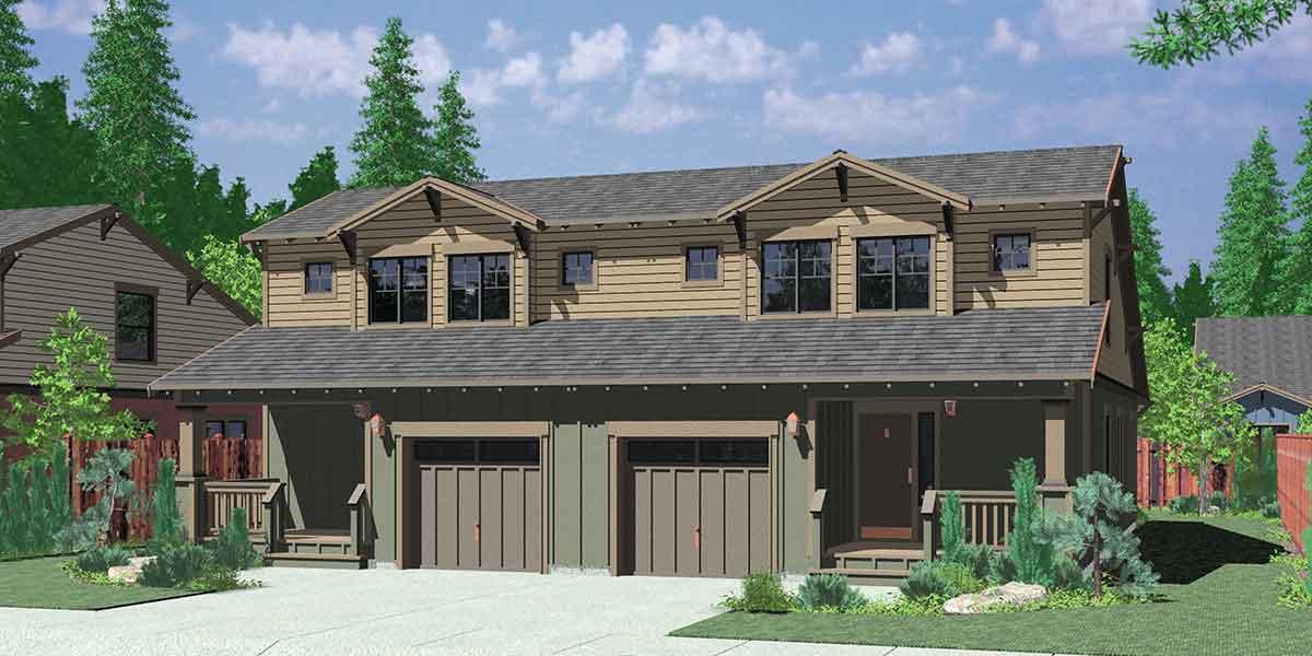 Narrow lot duplex house plans narrow and zero lot line for Duplex bungalow design