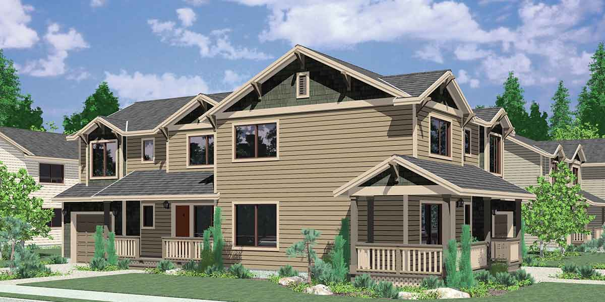 D 505 Corner Lot Duplex House Plans 3 Bedroom 2