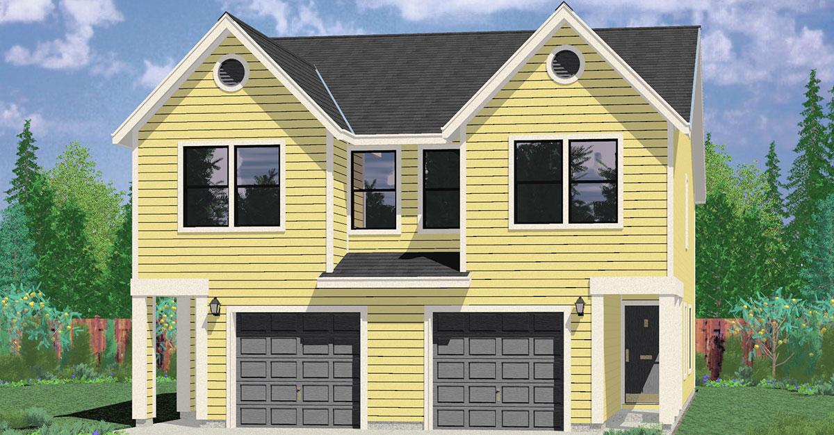 Narrow lot duplex house plans 16 ft wide row house plans for Multi family house plans narrow lot