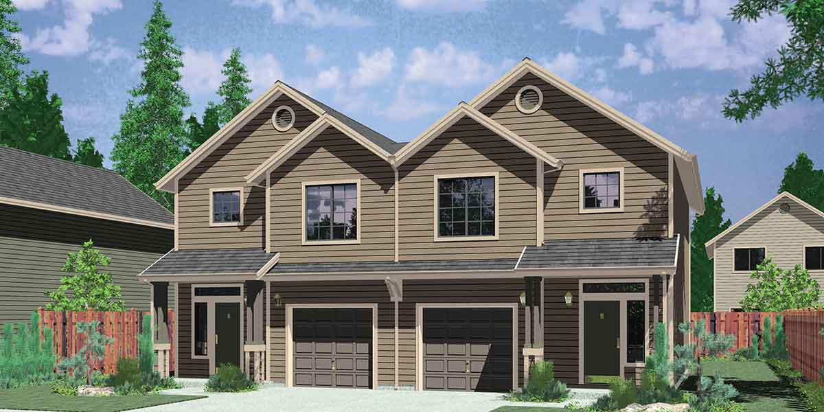 Narrow lot duplex house plans narrow and zero lot line for 3 bedroom duplex house plans