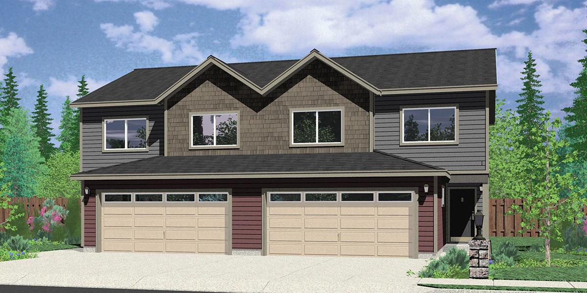 Duplex house plans duplex house plan with 2 car garage d 422 Duplex floor plans with garage