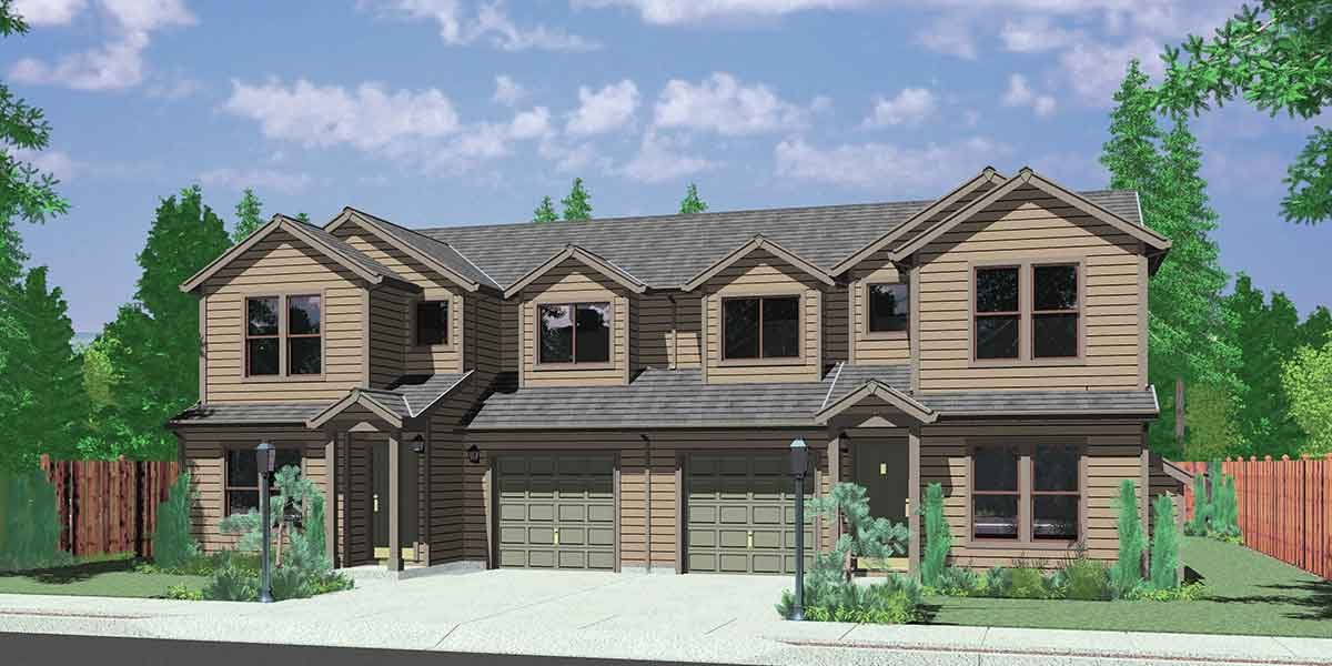 Duplex house plans 3 bedroom townhouse plans d 418 for Plans for townhouses