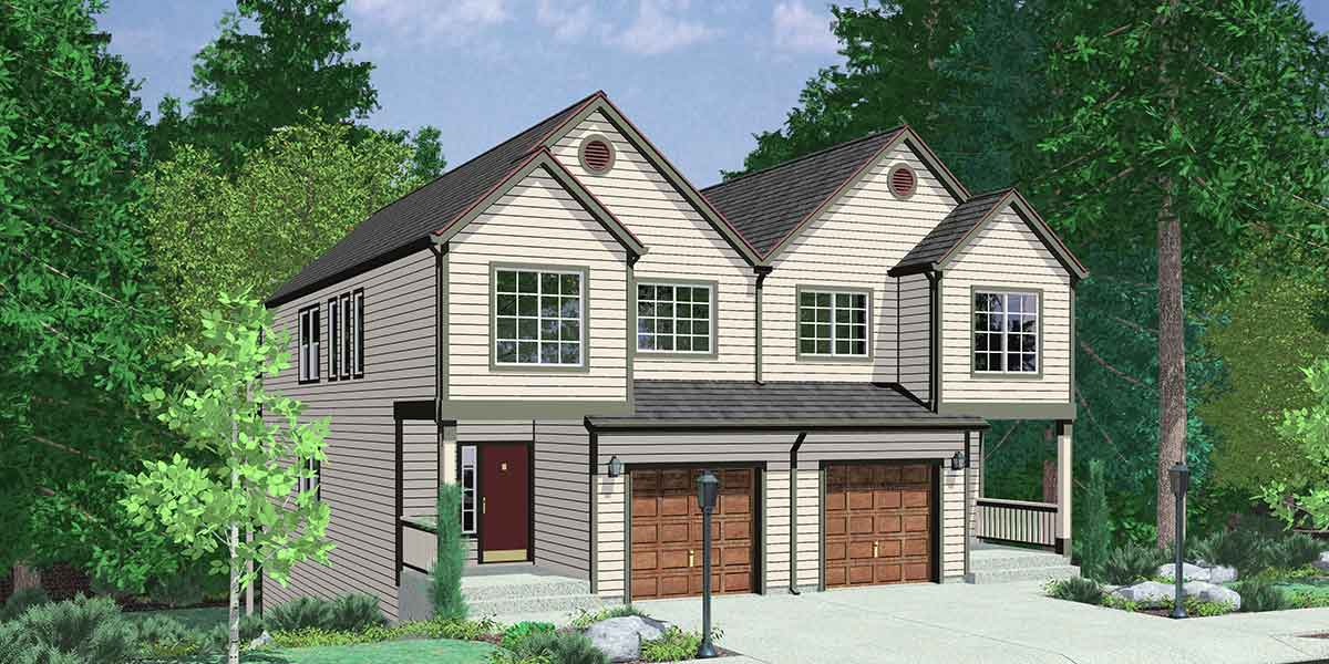 Duplex house plans sloping lot duplex house plans d 471 for Building a garage on a sloped lot