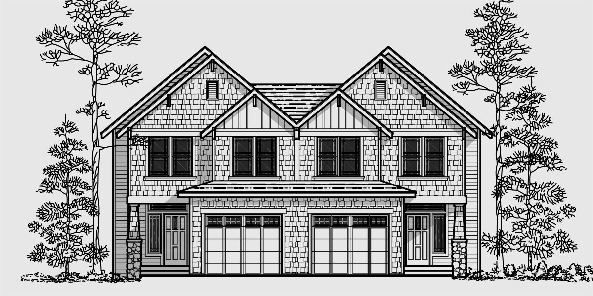 D-427 Craftsman duplex house plans, Luxury duplex house plans, duplex house plans with basement, D-427