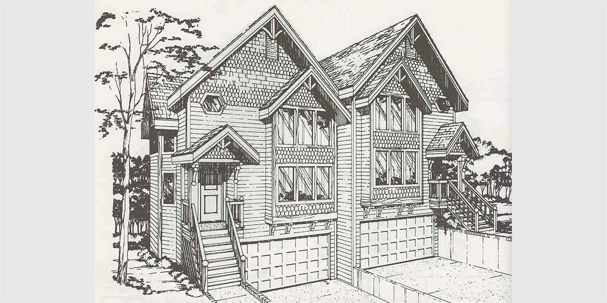 D-403 Victorian townhouse plans, duplex house plans, D-403
