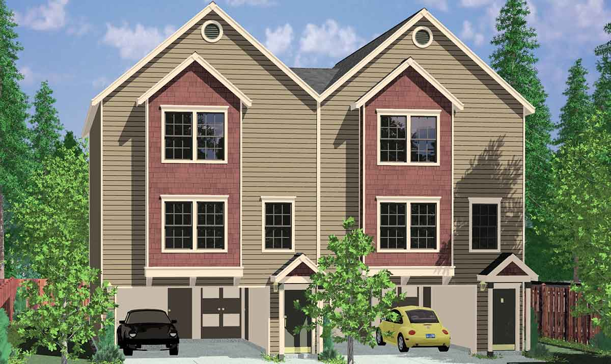 Duplex house plans 3 story duplex house plans d 460 for Multi family condo plans