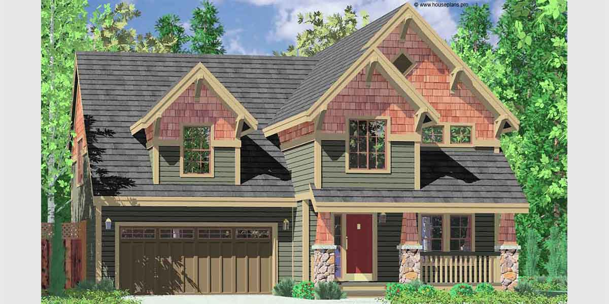 Craftsman House Plans, House Plans With Bonus Room, 40 X 40 House Plans,  Narrow Lot House Plans, 10104