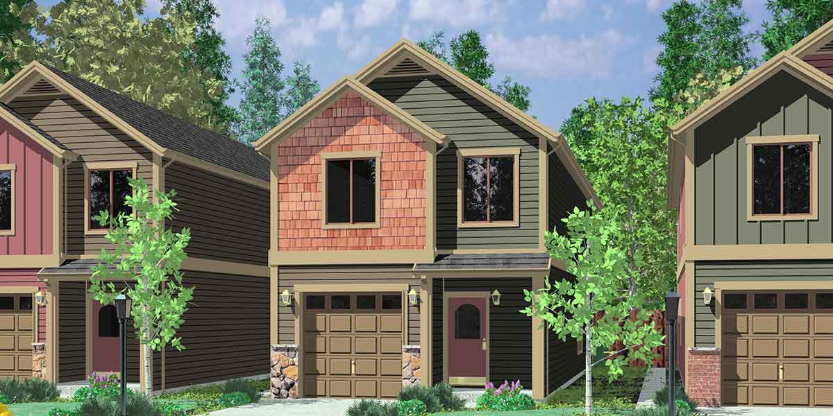 House Front Color Elevation View For 10105 Narrow Lot Plans Small With