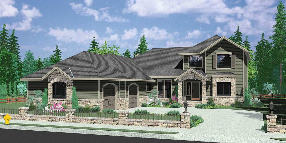 house front color elevation view for 10052 traditional house plan w master bedroom on the