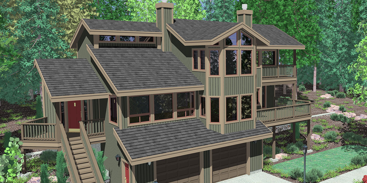 hillside home plans with basement sloping lot house plans split level or multi level house plans the plan collection