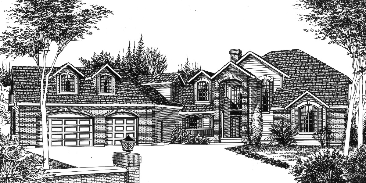 Country luxury house plan master on the main bonus 3 car for Luxury one story house plans with bonus room