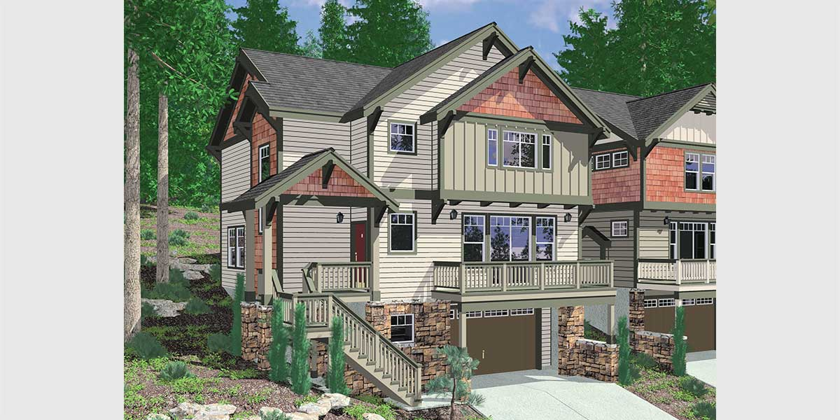 10110 Craftsman House Plan For Sloping Lots Has Front Deck And Loft.