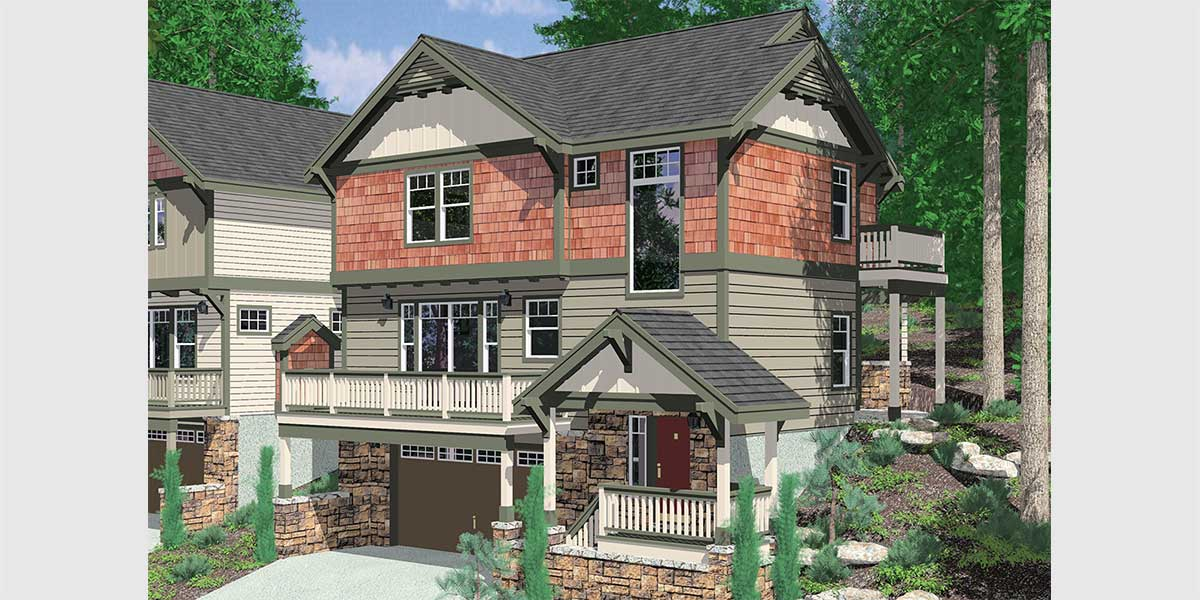 10111 Craftsman house plan for sloping lots has front and rear decks.