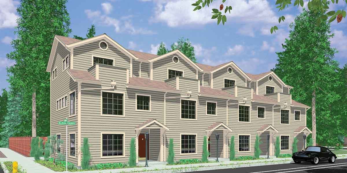 4 plex house plans multiplexes quadplex plans for Multi family house plans