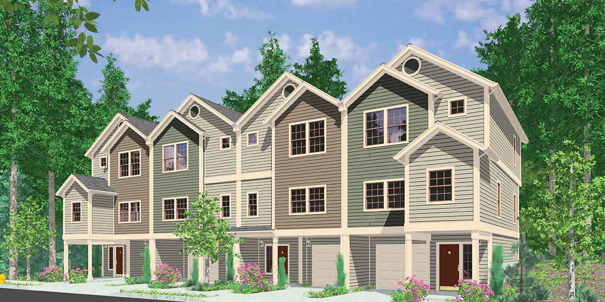 4 plex house plans multiplexes quadplex plans for Multi unit house plans