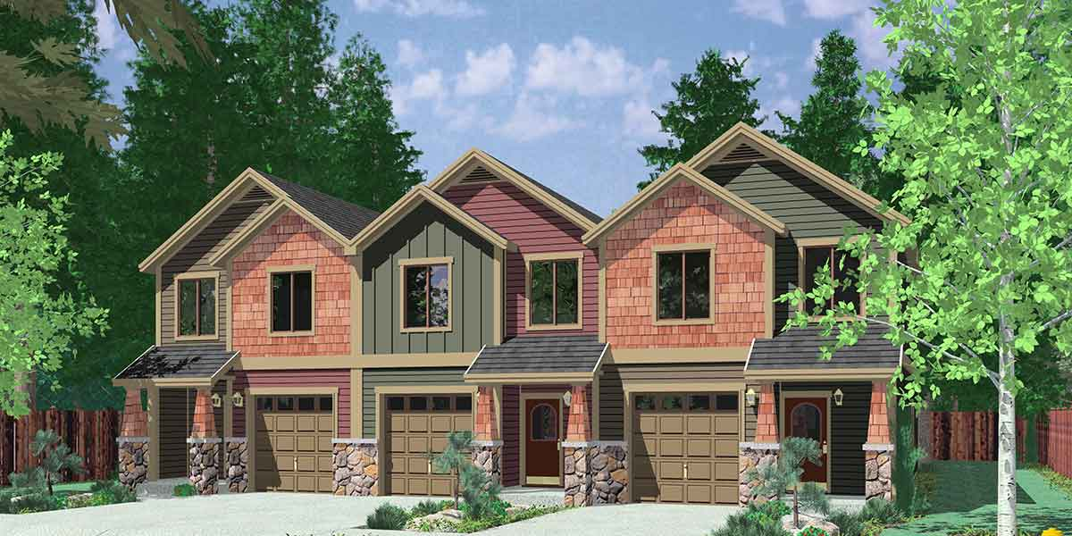 T-407 Triplex House Plans, Craftsman Exterior, Townhouse Plans, T-407