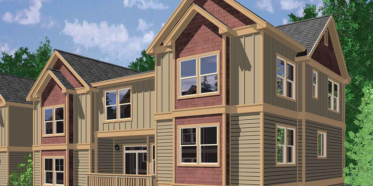T-403 Triplex House Plans, Traditional House Plans, Town House Plans, T-403