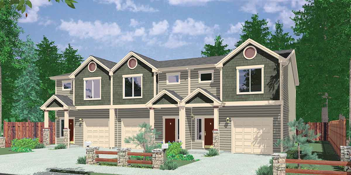 t 397 triplex house plans 3 bedroom house plan 22 wide house - Family House Plans