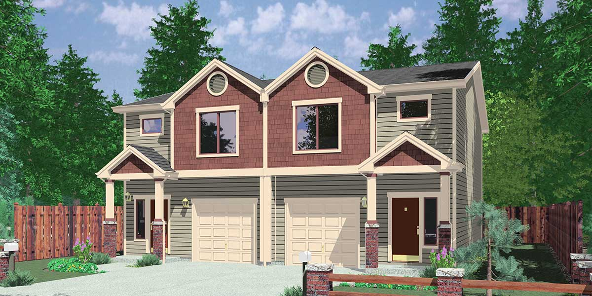 Narrow lot duplex house plans narrow and zero lot line for Duplex townhouse designs