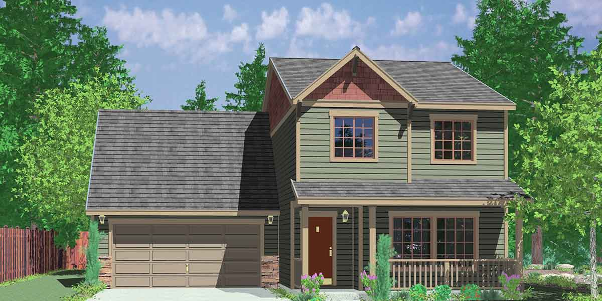 Narrow lot house plans building small houses for small lots for Small two story house plans with garage