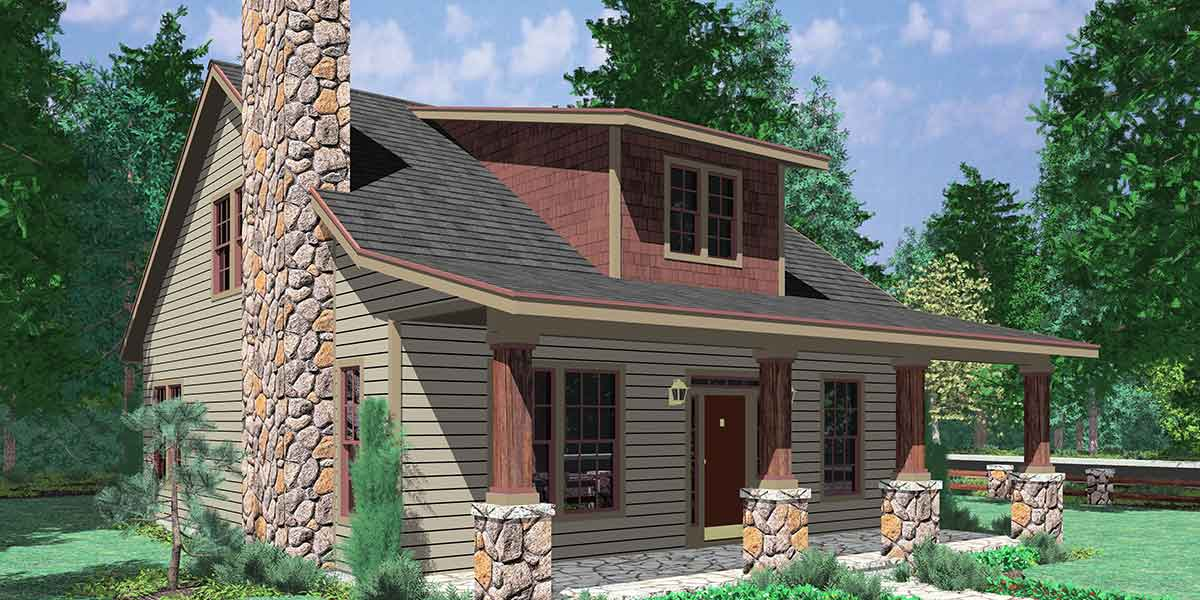 10122 Bungalow House Plans, Large Porch House Plans, 1.5 Story House Plans,  House