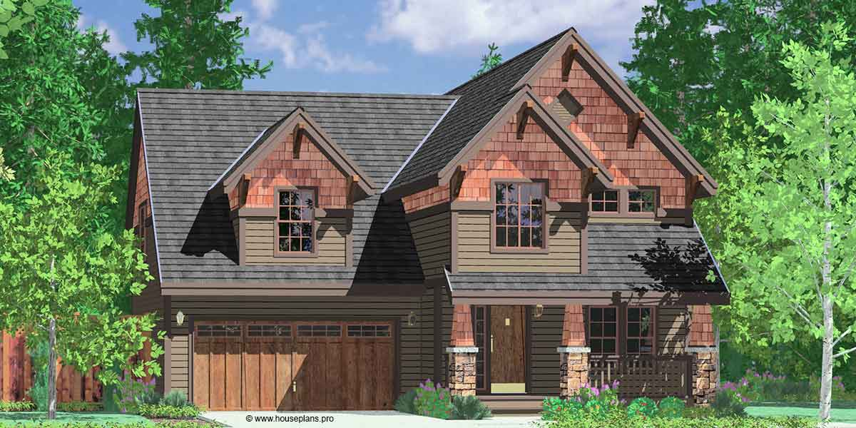 10121 2 Story Craftsman House Plans, 40u0027 Wide House Plans, 4 Bedroom House Home Design Ideas