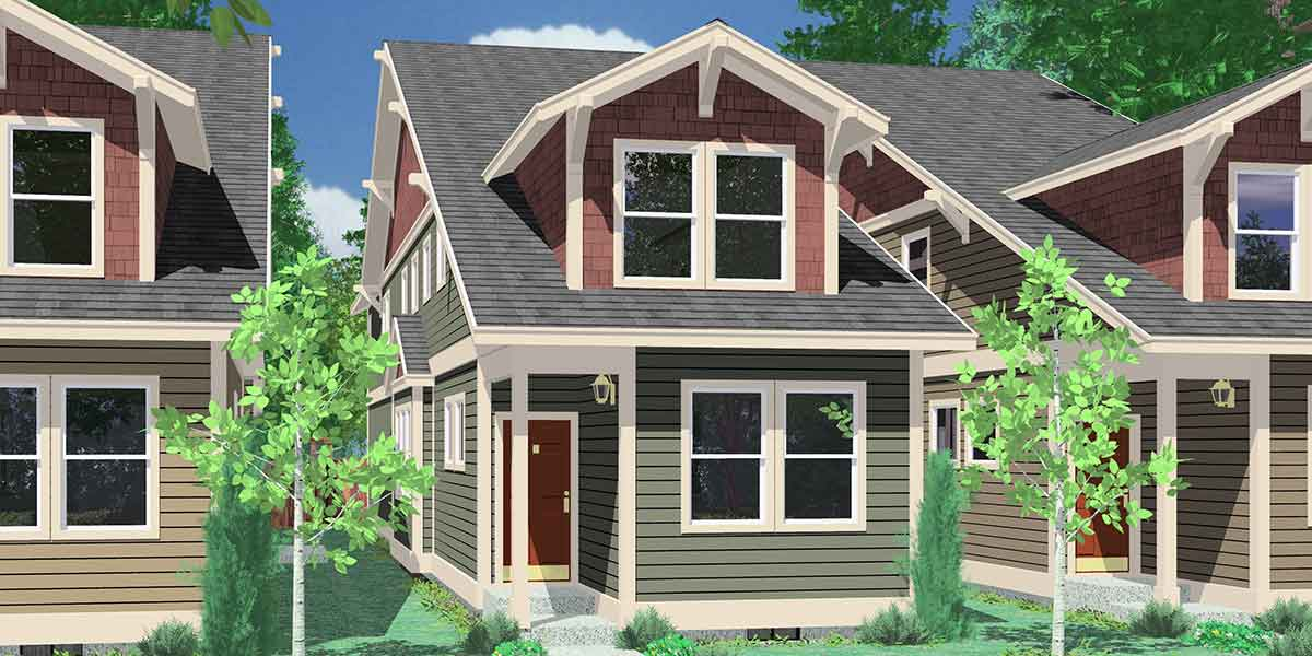10119 Narrow Lot House Plans, House Plans With Rear Garage, 4 Bedroom House  Plans