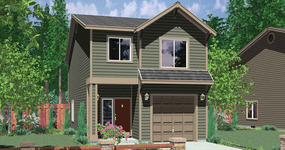 house front color elevation view for 10118 narrow lot house plans affordable small house plans