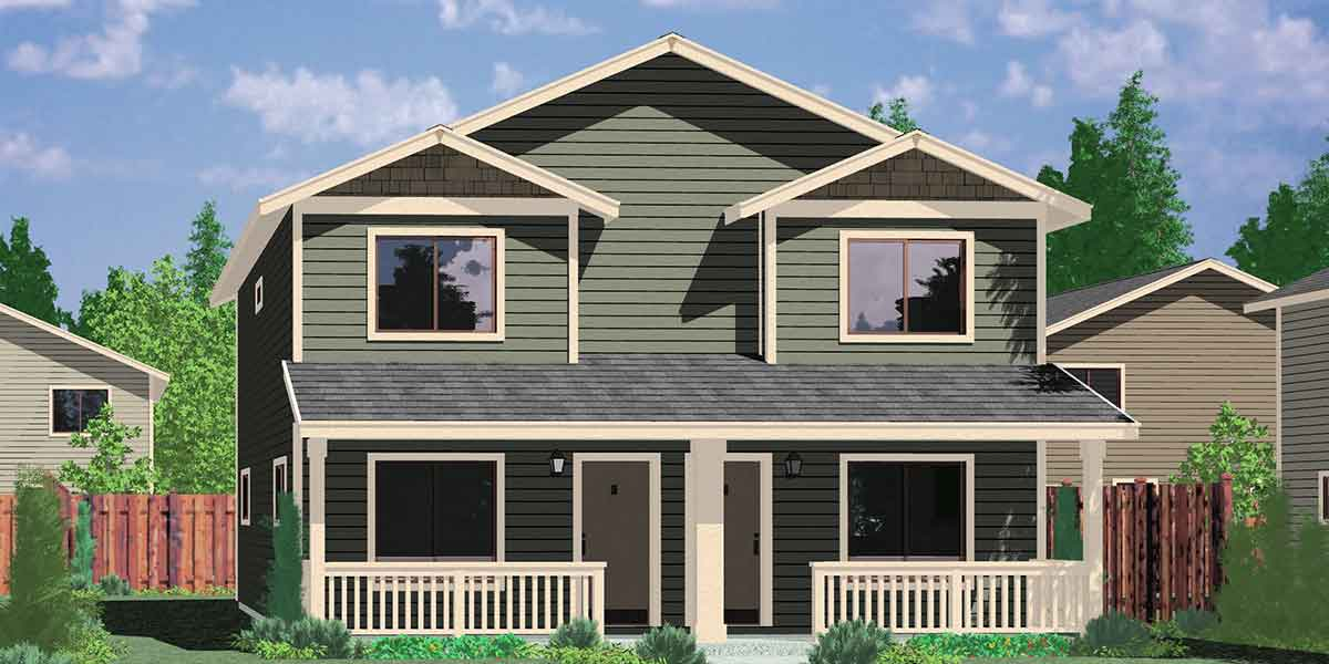 Narrow lot duplex house plans narrow and zero lot line for House for two families