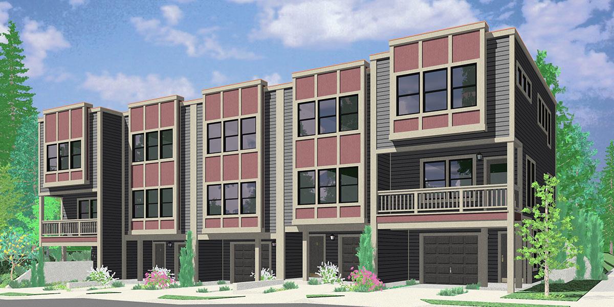 Modern town house plans duplex house plans sloping lot plans for Town house plans modern