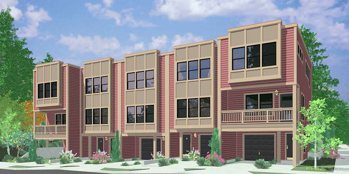 5 plus multiplex units multi family plans for Modern townhouse plans