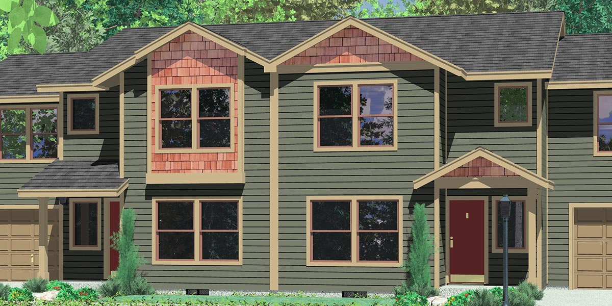 D-545 Duplex house plans, duplex house plans with 2 car garages, D-545