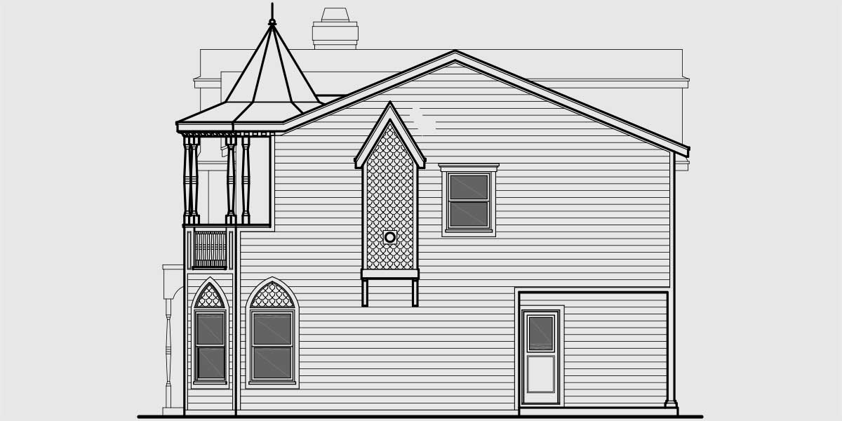 Unique victorian classic tv munster house plan for Side view house plans