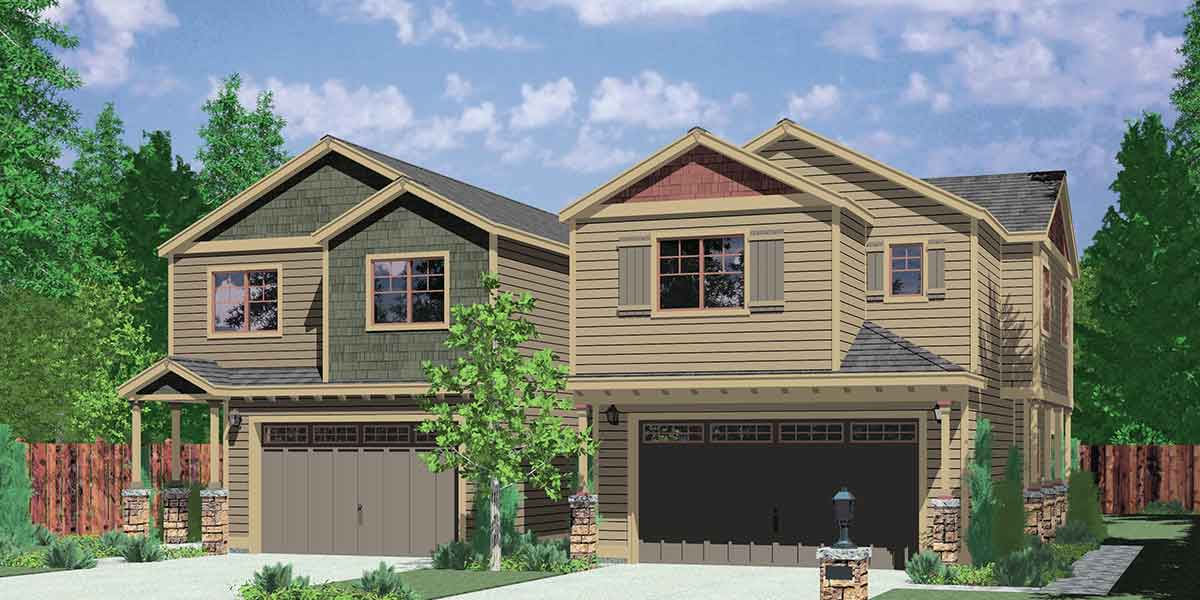 Duplex House Plans, Corner Lot Duplex House Plans, Corner Lot House Plans,  D 558 A Part 43