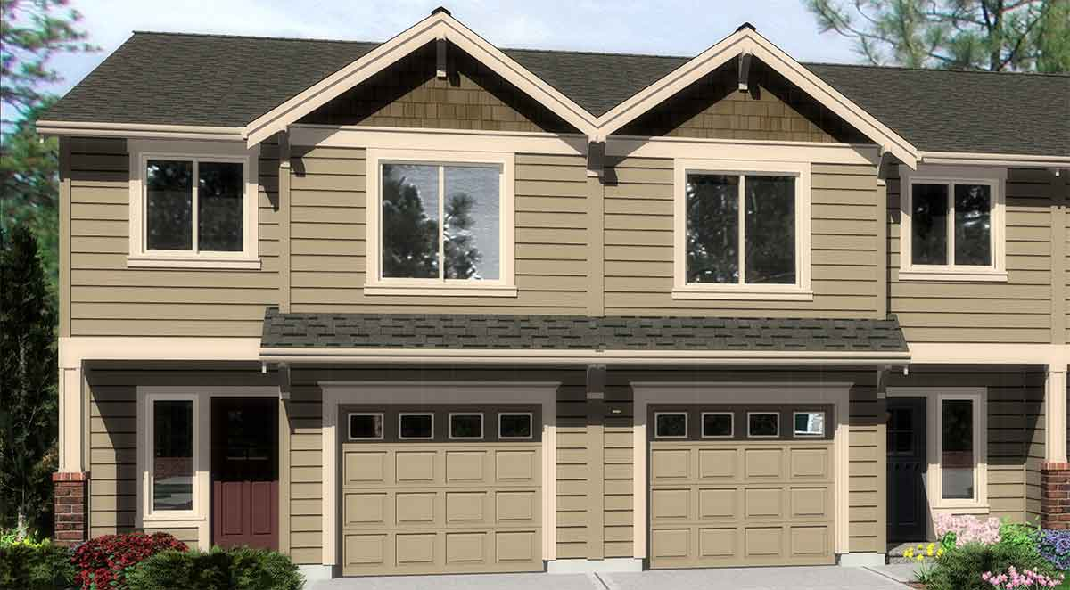 Triplex House Plans Triplex Plan With Garage 20 Ft Wide