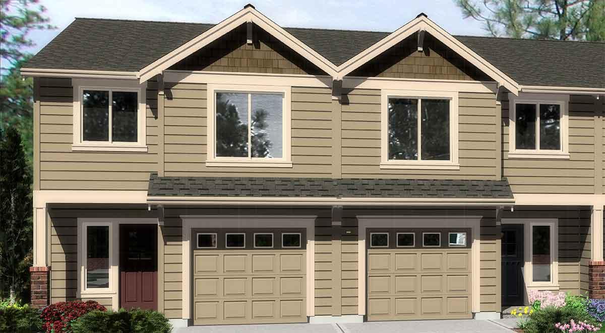 Triplex house plans triplex plan with garage 20 ft wide for Duplex building cost estimator