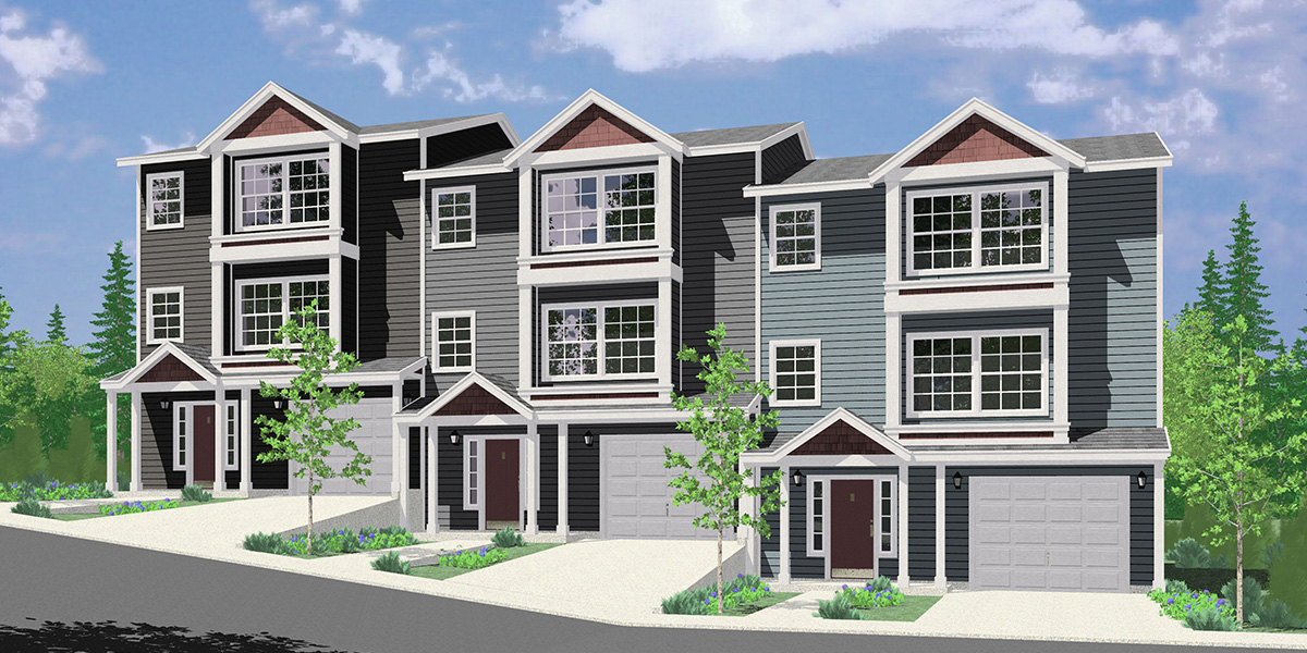T-408 Triplex house plans, 3 bedroom townhouse plans, 25 ft wide house plans, narrow house plans, 3 story townhouse plans